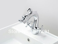 Hot Sale Wholesale and Retail Promotion Polished Chrome Bathroom Basin Dragon Faucet Vanity Sink Mixer Tap Dual Handles