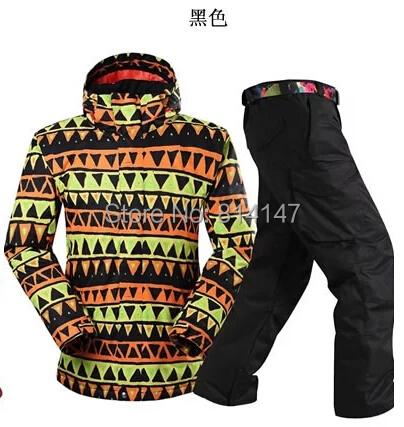 2015 new fashion style hommes combinaison de ski hiver très chaud combinaison de ski coupe - vent imperméable hommes planche à neige veste + pantalon ensemble(China (Mainland))