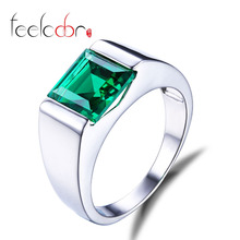 Luxury 2.34ct Fashion Russian Nano Green Emerald Engagement Ring For Men Genuine 925 Sterling Sliver sterling-silver-jewelry(China (Mainland))