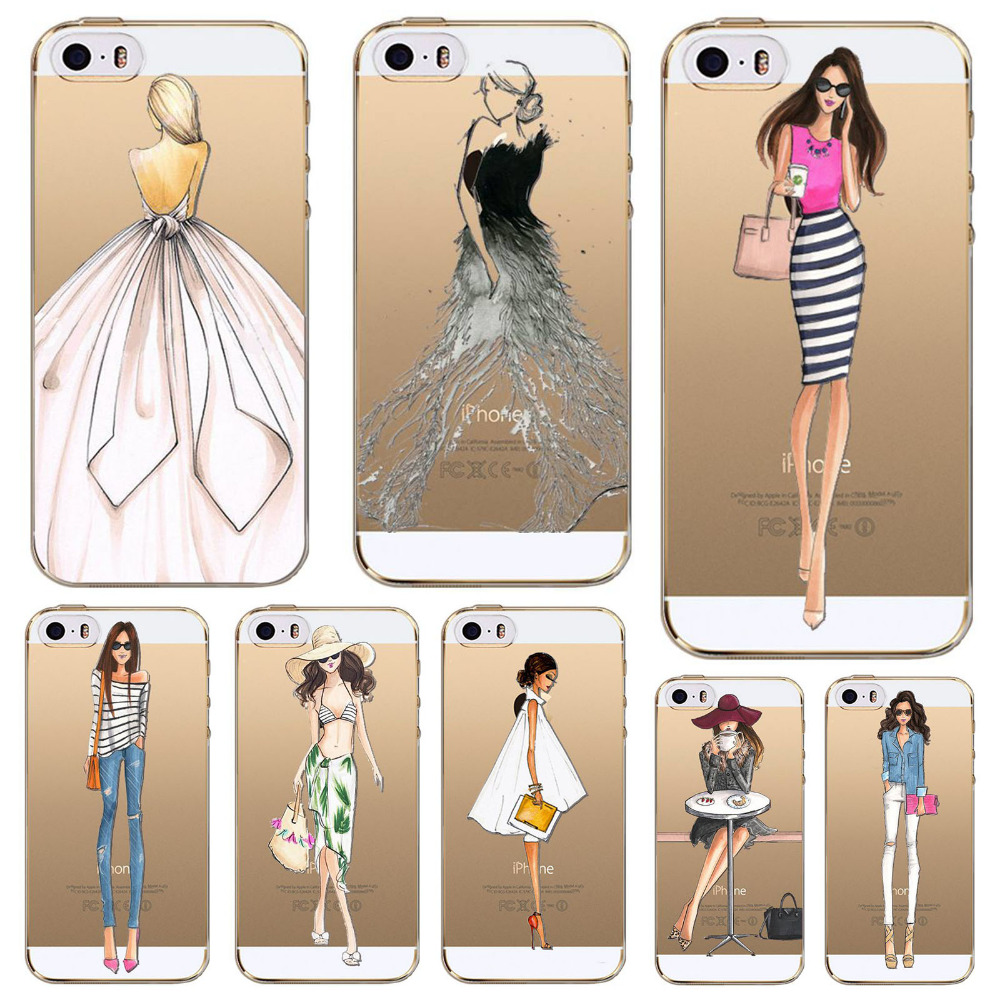 Phone Case Apple iphone 4 4s fundas Colorful Dress Shopping Girls Drawing Soft Sillicon Transparent TPU Back Cases Cover - poplar1115 store