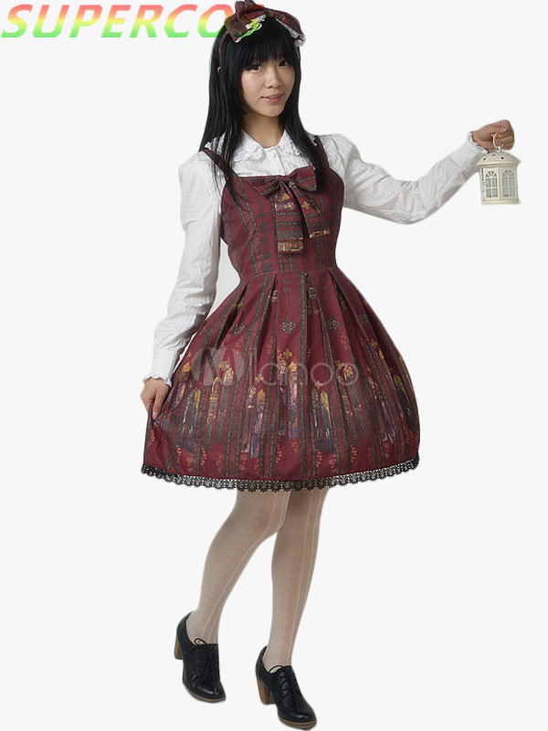 Free shipping ! New Arrivals ! High Quality ! Sweet Cotton Bow Lolita Jumper Skirt