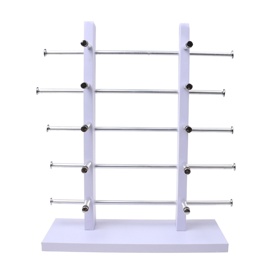 5-Layer Sunglasses Eyeglasses Display Wooden Frame Rack Stand Holder Organizer Earing Jewelry Packaging -White