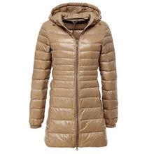 S ~ 6XL 2017 Neue Herbst Winter Frauen Ente Downs Jacke Schlank Parkas Damen Mantel Lange Mit Kapuze Plus Größe Ultra Licht Oberbekleidung AB038(China)