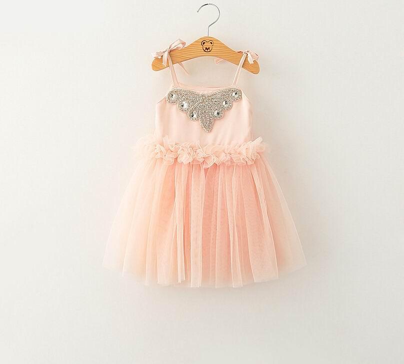 2015 New Girl Dress 1898 Rhinestone Butterfly Pink Sleeveless Princess Dress For Girl 2-7Y<br><br>Aliexpress