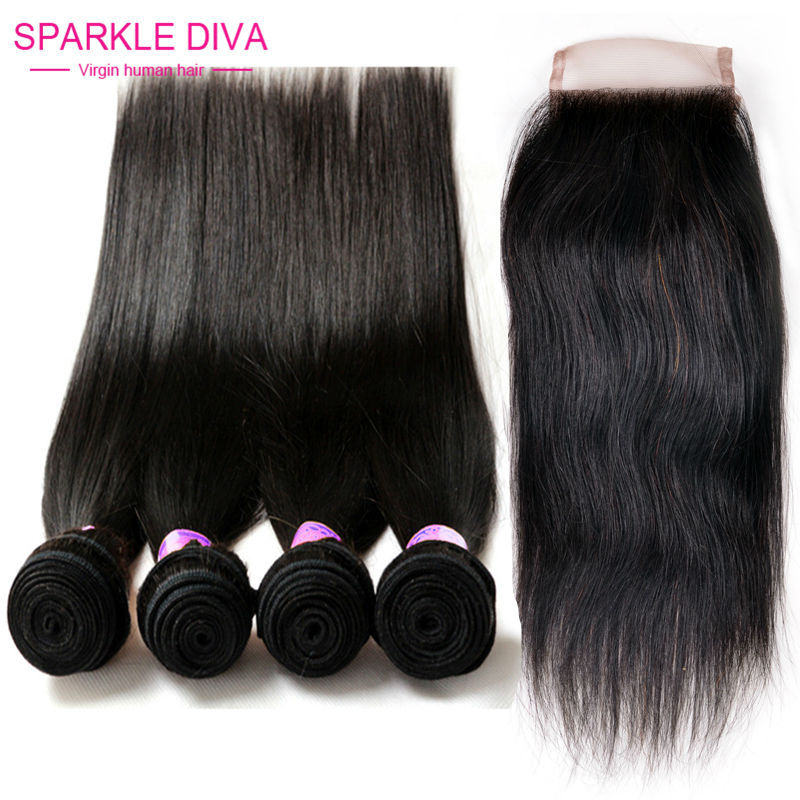 8A Malaysian Straight Hair With Closure Ms Here Hair With Closure And Bundles 4 Bundles With Closure Lace Human Hair Weave  <br><br>Aliexpress