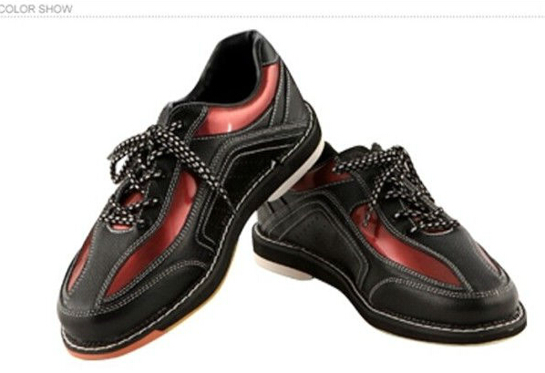 New Arrival Classic Style Leather Quality Mens Bowling shoes black with red stripe<br><br>Aliexpress