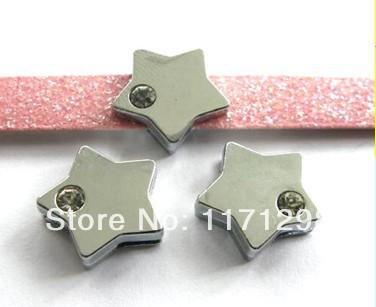 100pcs 8mm one rhinestone shining Star Slide Charms Fit Pet Dog Cat Tag Collar Wristband(China (Mainland))