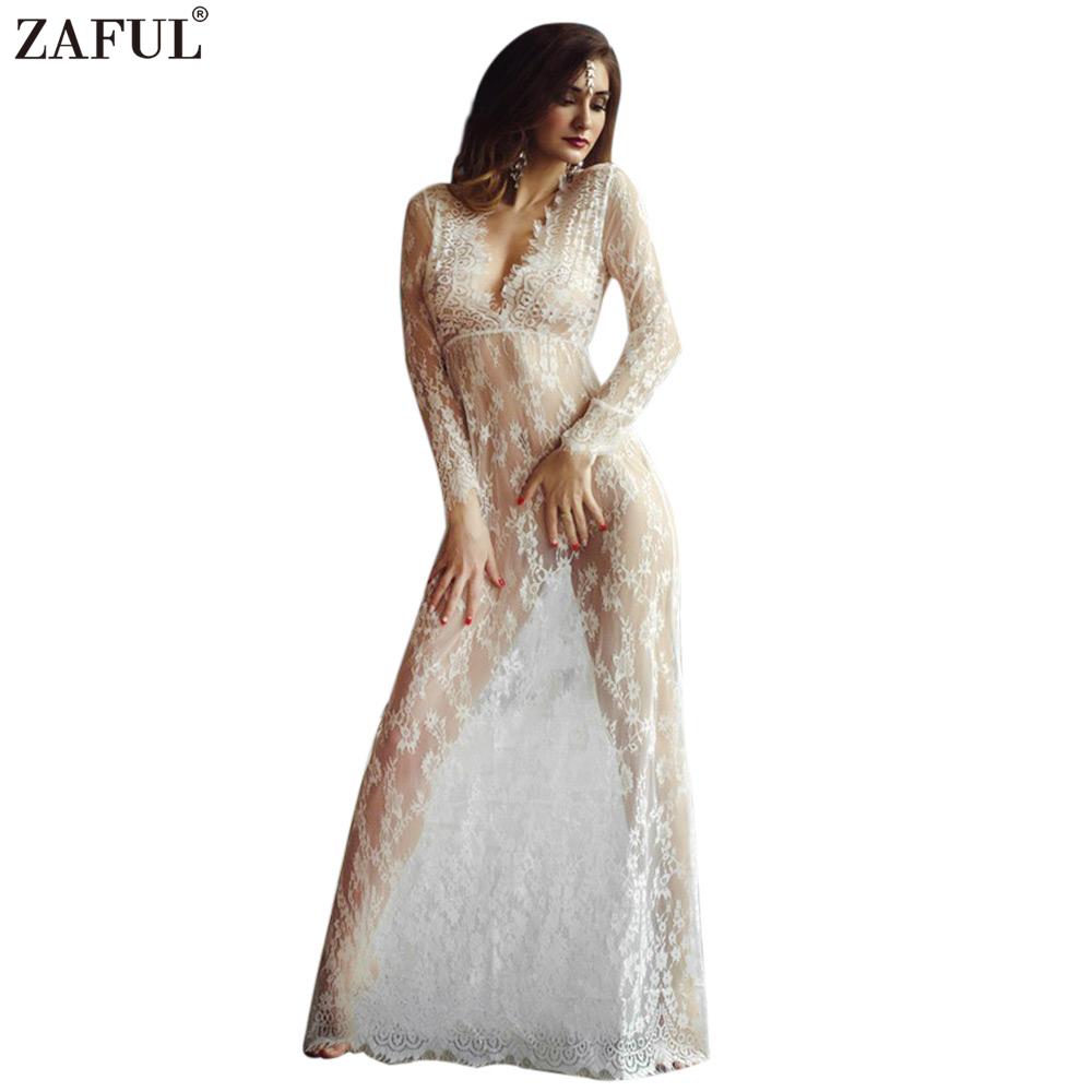 ZAFUL Women Sexy Lace Embroidery Maxi White Floor-length dress Deep V Long Sleeves feminino vestidos Long smock crochet Dress(China (Mainland))