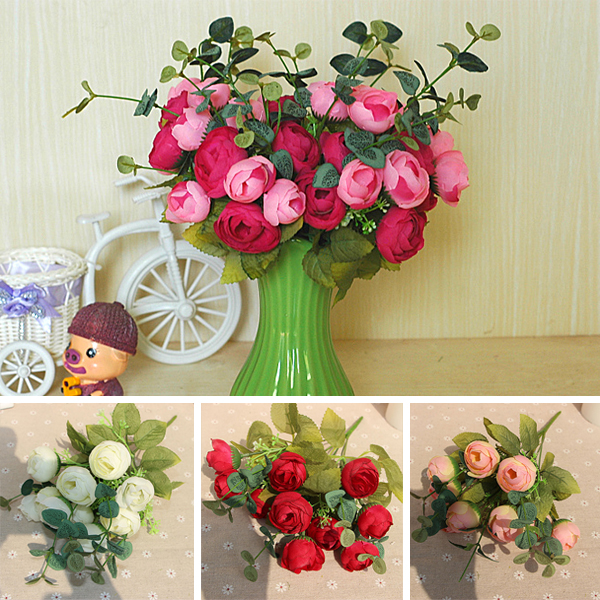 10 Heads Flowers Bouquet Artificial Silk Champagne Flower Spring Rose Hydrangea Wedding Home Decor Party