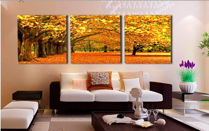 Piece Wall Art Modern Abstract Large Cheap Autumn Maple Leaves Woods