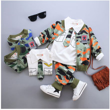 2016 New Autumn Stylish Toddler Boys Clothing Camouflage Sets 3 Piece Baby Boy Outfits Children Clothes Infant Suits Clothing