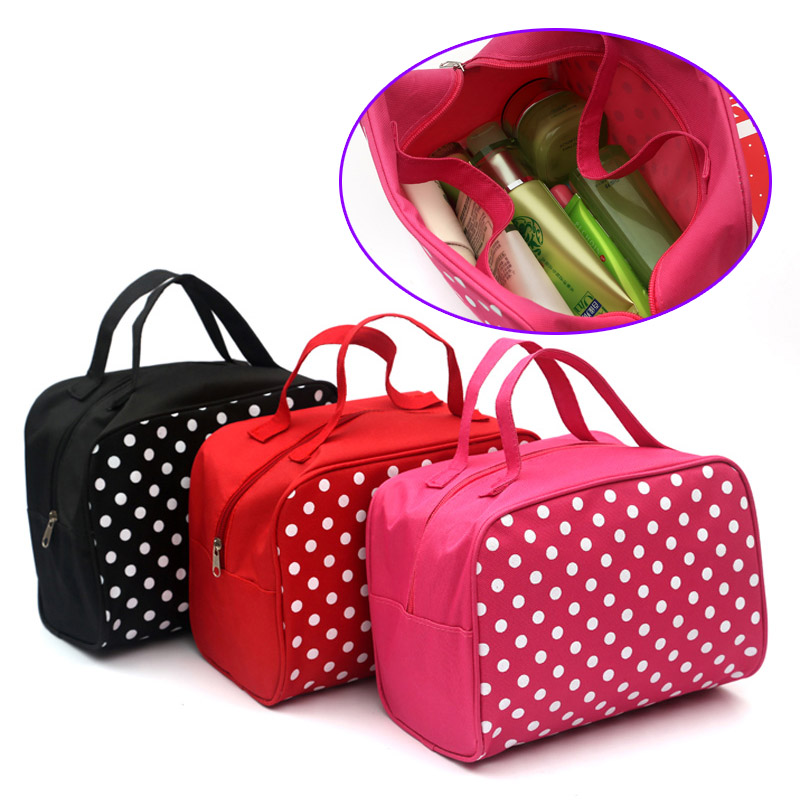Fashion Lady Organizer Multi Functional Cosmetic Storage Dots Bags Women Makeup Bag With Pockets Toiletry Pouch(China (Mainland))