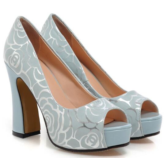 ENMAYER 2015 Fashion Sexy Party Wedding Korean round toe Women High Heels Shoes Platform waterproof Women Stiletto Print Pumps(China (Mainland))