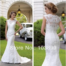 New Design Sheath High Neck White Elegant Slim 2013 Popular Lace Wedding Dresses(China (Mainland))