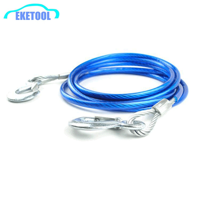 Auto Towing Rope Car Emergency Necessary 4M 5Tons Blue PVC Tube&Wire Cable Dia10mm Outdoor Steel Wire With Hooks High Quality!(China (Mainland))