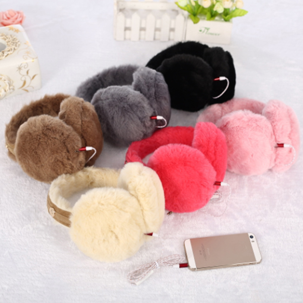 fashion Winter Plush Earmuffs Headphones 3.5mm Wired Ear Warmer Protector New
