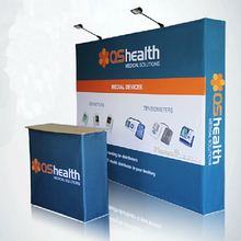 straight Tradeshow Display 10ft Velcro Fabric Pop Up Stands booth banner with custom graphic printing(China (Mainland))