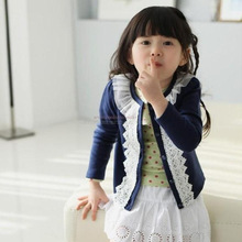 Spring autumn baby clothing girls outerwear casual sweet lace o neck kids jackets coats cotton knitted
