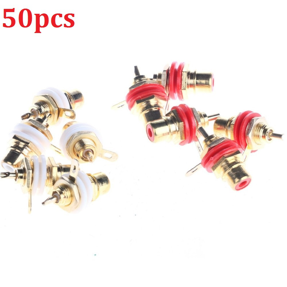 Female Jack 5Plated Rca Connector Gold Panel Mount Chassis Audio Socket Plug Bulkhead white cycle nut solder cup - Shenzhen Molesmell Technology Co., Ltd store
