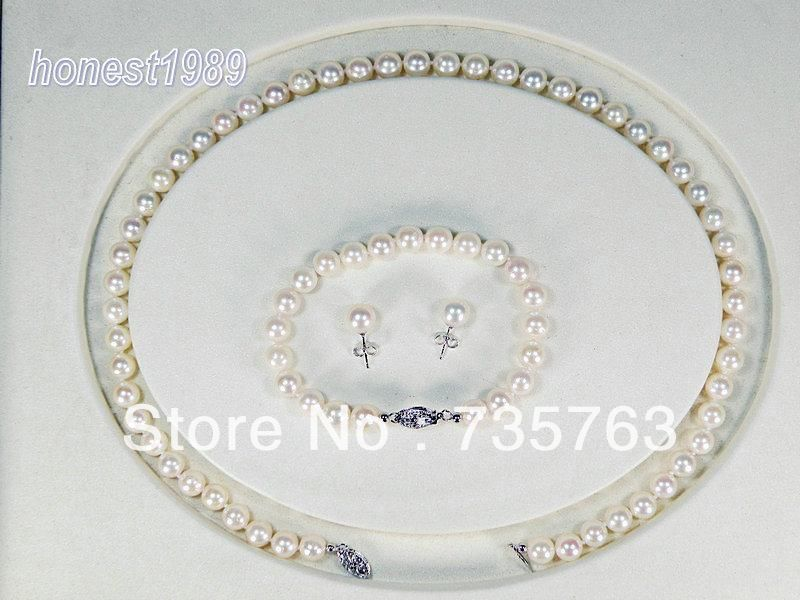 xiuli 00107 Japanese 7-7.5mm AAA+ grade perfect round white akoya pearls SET 14K solid gold<br><br>Aliexpress