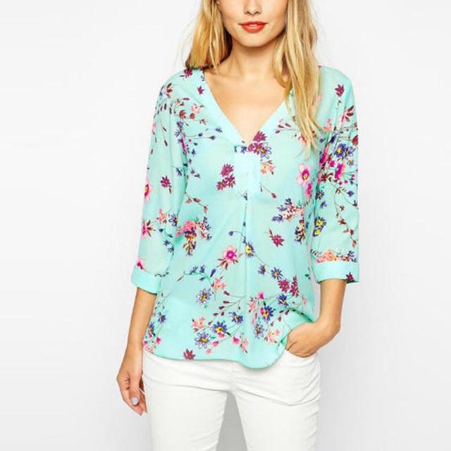 Top Design Chiffon Blouses 3/4 Sleeve V-Neck Blouse Elegant Floral Printed Blouse Casual Loose Shirt Feminino Blusa Tops BM6619(China (Mainland))