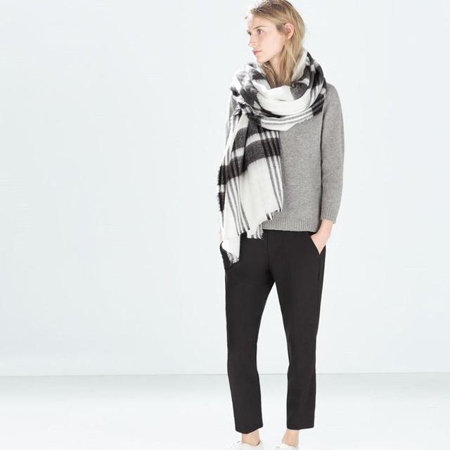 1 шт. 195 X 88 см мода женщины мужчины одеяло большой негабаритных шотландка шарфа шаль черный белый плед уютные проверено пашмины шарфы