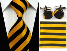 SNT0086 Hot Sale 2014 Fashion Man Yellow Ties Necktie Set Cufflink Hanky Checked Striped Casual Neckties