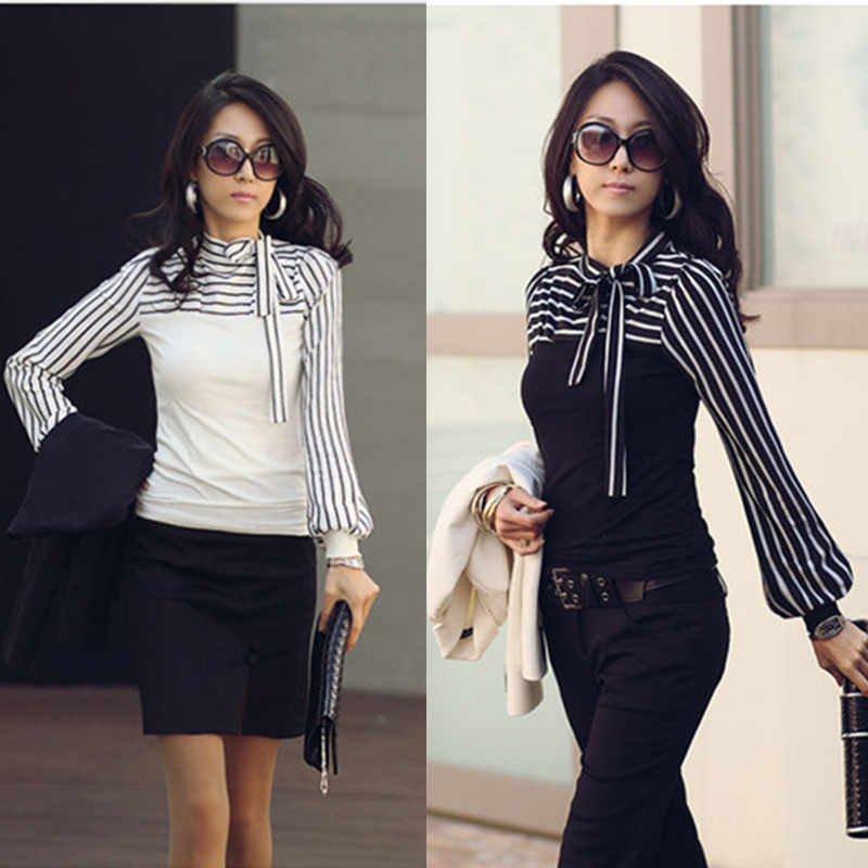 2015 Hot Sale Office Ladies Fashion Black White Striped Bow Long Sleeve Tops Women Shirt Work Wear(China (Mainland))