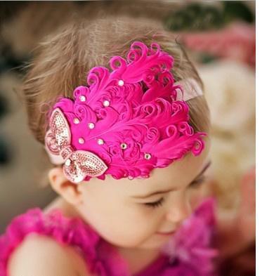 feather baby headband girls' hairbands bows hairpin headwear Christmas hair tie Headbands 9 colors #3(China (Mainland))