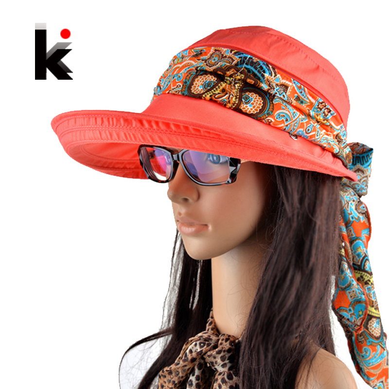 Free shipping 2015 summer hats for women chapeu feminino new fashion outdoors visors cap sun collapsible anti-uv hat 6 colors(China (Mainland))