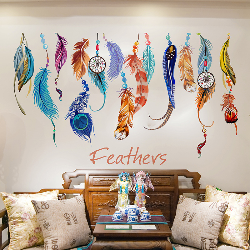 DIY Lucky Feather Bedroom Living Room Wall Sticker Sofa TV Decorative Wall Stickers Home Decoration Accessories Home Decor(China (Mainland))