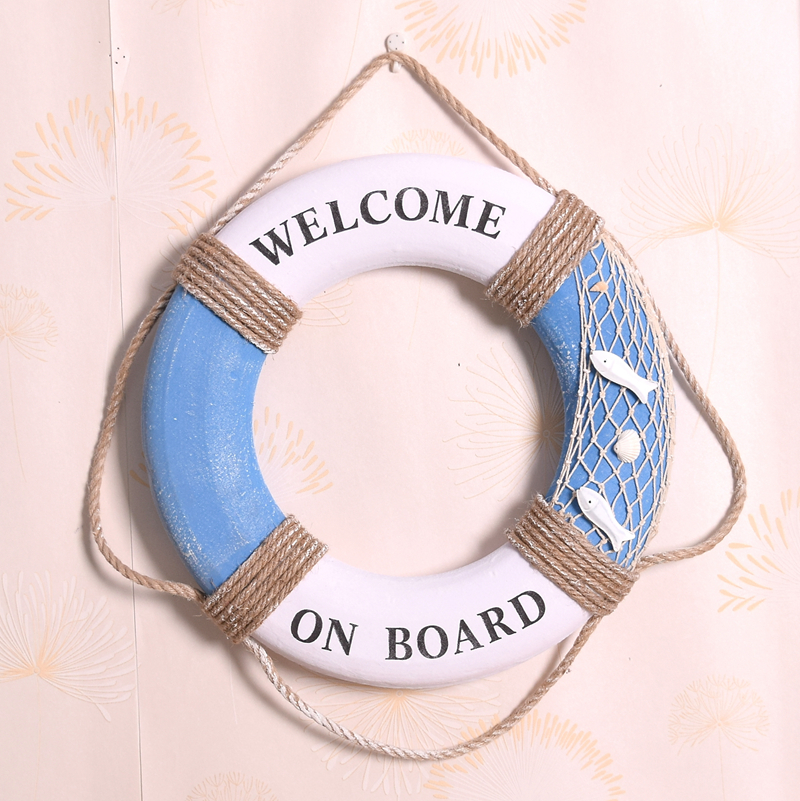 """35CM Mediterranean style """"welcome aboard"""" fishing net Cotton Lifebuoy Bar Living Room Decoration Nautical Home Decor(China (Mainland))"""
