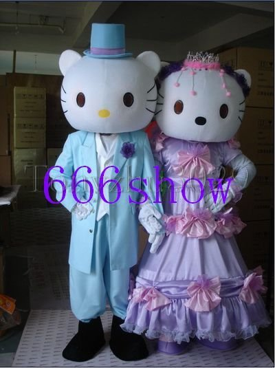 hello kitty and denial cat cartoon mascot costume free shipping(China (Mainland))