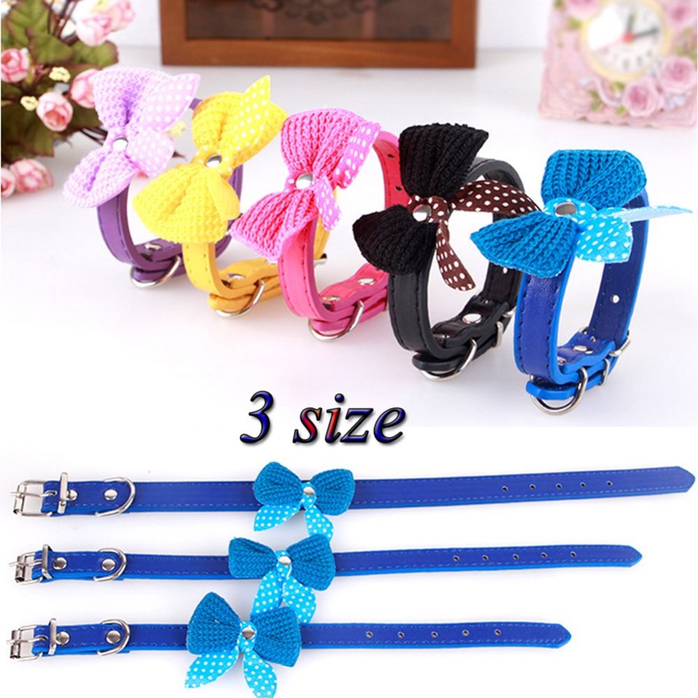 Adjustable Dog Collar Cat Pet Cute PU Leather Dog Collar Rhinestone Puppy Kitten Necktie Collar 6 Colors(China (Mainland))