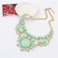 New Jewelry Crystal Chunky Statement Bib Pendant Chain Choker Necklace Green LSZ07(China (Mainland))