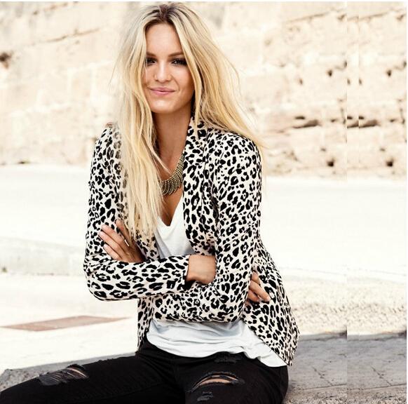 2015 New Arrival Vintage Brand Full Sleeve Autumn Fashion Slim Loose Boyfriend Ladies Plus Size Women Leopard Print Blazer S XL(China (Mainland))