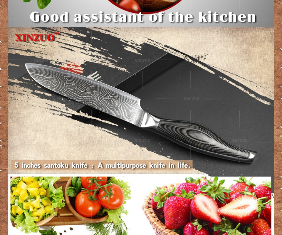 "Buy 5"" chef knife Japanese VG10 Damascus steel chef knife kitchen knife santoku knife color wood and stainless handle FREE SHIIPPING cheap"