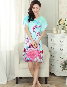 High Fashion Blue Lady Cotton Nightshirt Short Sleeve Bath Robe Gown Printed Sleepwear Home Casual Dress One Size S0127-A