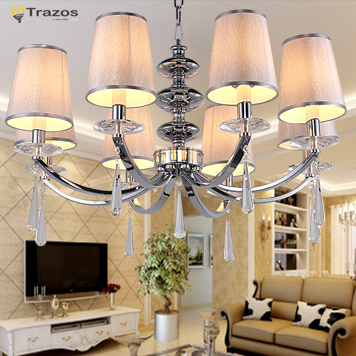 Modern European style led Chandelier fashionable design for living room pendentes e lustres K9 crystal white shade iron lustres<br><br>Aliexpress