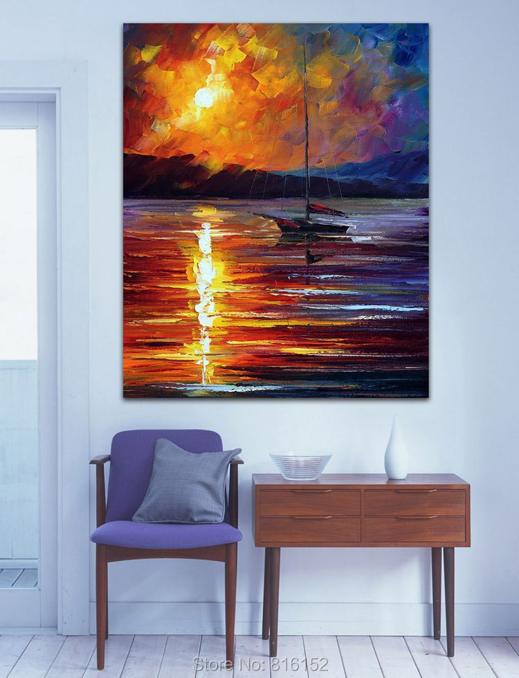 Sailing Boat on Dust Ocean Scene Palette Knife Oil Painting Wall Art Picture Printed On Canvas For Office Home Hotel Decor(China (Mainland))