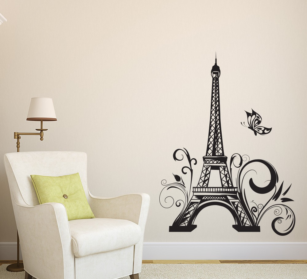 Eiffel tower decor paris wall sticker vinyls stickers muraux wall stickers ho - Stickers muraux cdiscount ...