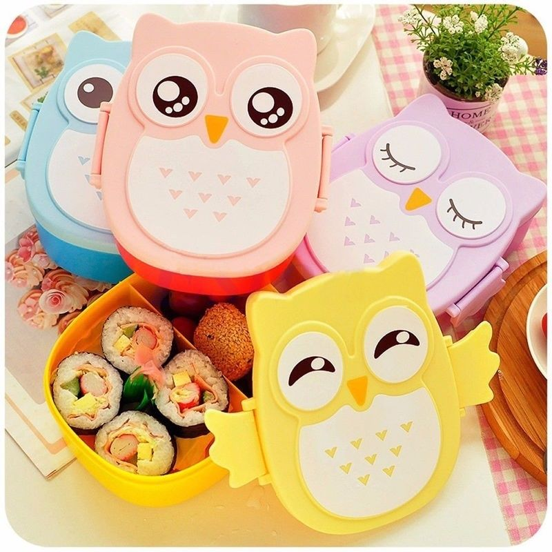 Cute Owl Insulated Lunch Box For Set Children Kids Korean Bento Meal 4 Colors Microwave Oven Easy Open Large Capacity Lunchbox(China (Mainland))