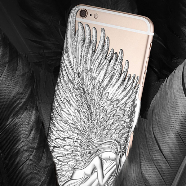 Iphone 6 plus case Luxury Shining Eletroplating Angle wings Hard Plastic Cover Cases Plating Relief Phone Covers - Edward Technology Co,ltd store
