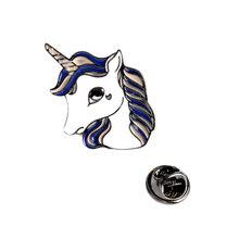 Moda Unicorn Spilla Pins Tasto del Metallo Animale Cavallo Denim Giacca Bavero del cappotto Distintivo per Le Donne Gioielli Regalo Ragazza(China)