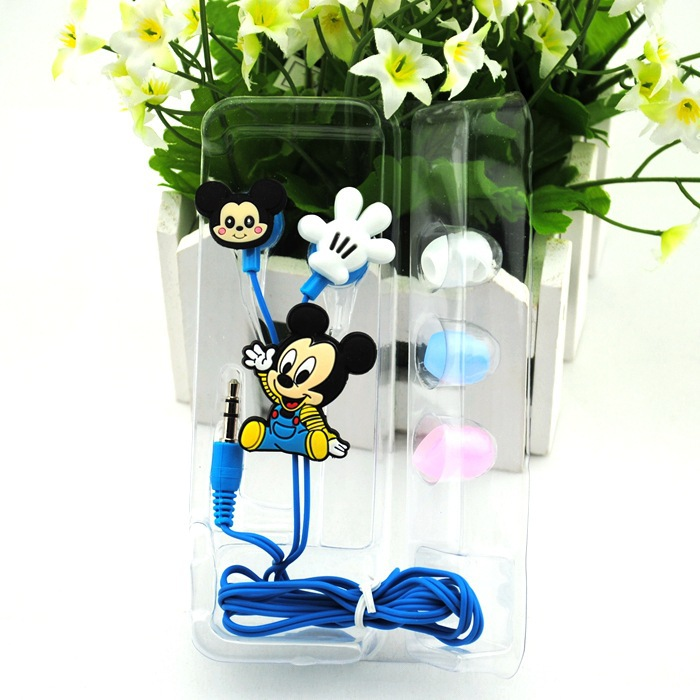 Mickey Mouse headset Cartoon Anime the Minion Style 3.5mm in ear Headphone Earphone for Mobile Phone MP3 player PC Computer blue(China (Mainland))