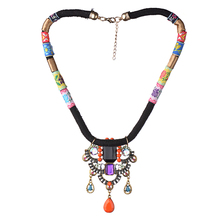 Ethnic Bohemian Necklace Women 2016 New Multicolor Rope Chain Beads National Maxi Collares Collier Jewelry Costume Accessories(China (Mainland))