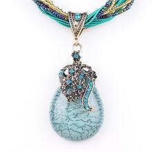 ZOSHI ブルー天然水晶石のペンダントネックレスファッションピーコックペン(China)