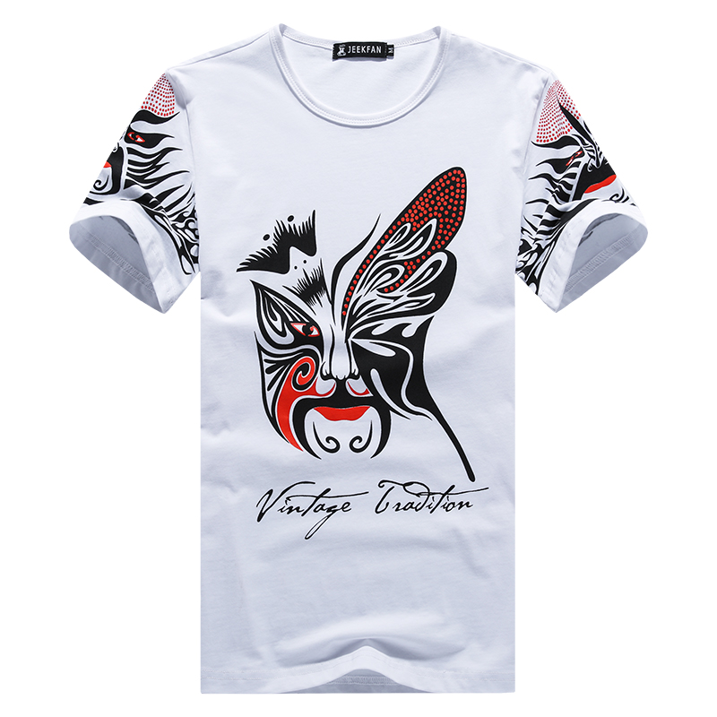 New fashion chinese style facial makeup printing t shirt T shirt printing china