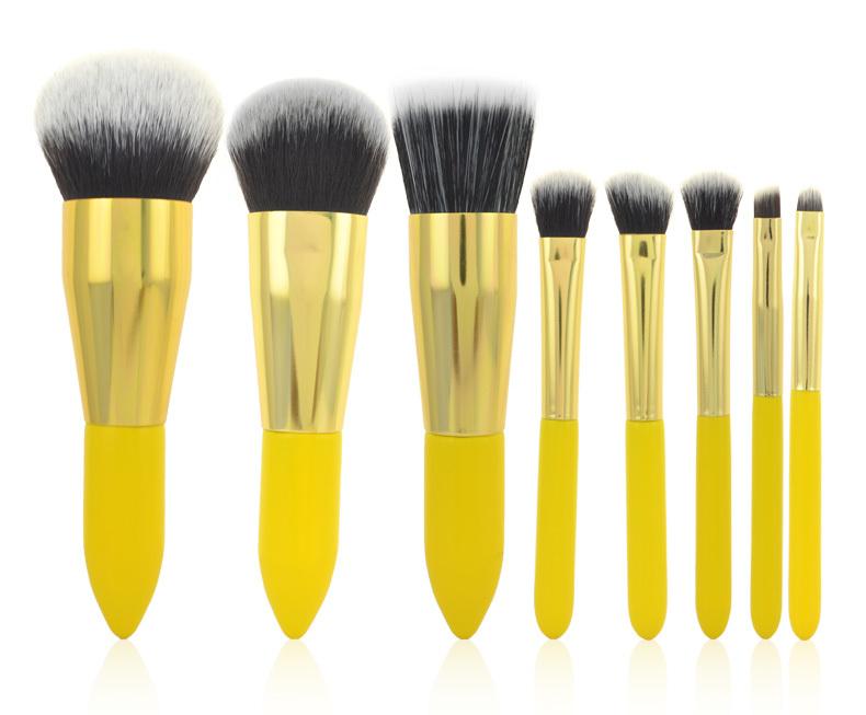"""Synthetic Kabuki Lemon Makeup Brush Set Professional Cosmetics Foundation Blending Brushes - """"Beauty shop store"""