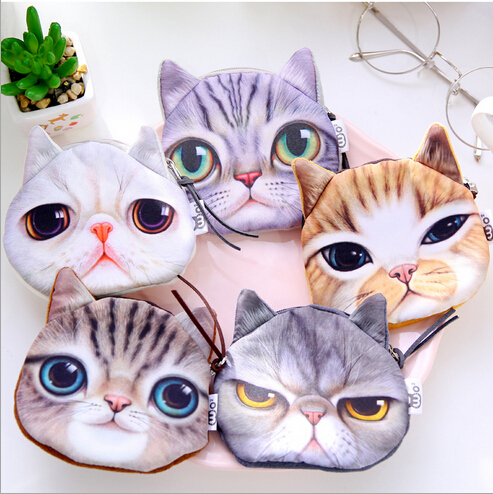 Retro style cat head shape storage bag Cat face storage bag Small articles storage bag(China (Mainland))